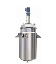 Jacketed Reactor with flange top disc with top drive agitator
